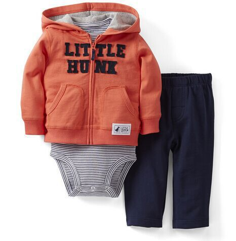 3 Pcs  New Wholesale Striped Jacket and Pants Three Sets A Variety of Color for 0-2 Years Boys<br>