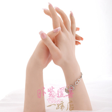 Realistic Female Soft Silicon Flexible Mannequin Hand For Ring Bracelet And Glove Display(China)