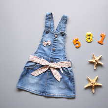 New Arrival 2017 Baby Girls Dress Sundress Children Metal Buttons Sundress Kids Suspender Baby Denim dress Baby Casual Sundress