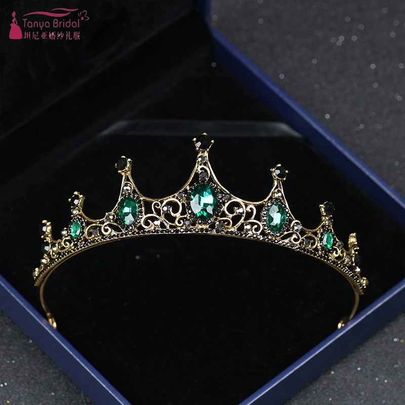 Vintage Baroque Crown New Alloy Green Diamond Small Crown Elegant Elegant Headwear DQG666