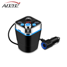 Bluetooth Car Kit Music Player FM Transmitter Modulator Cup Shape 120W Cigarett Lighter Socket Adapter 3.1A Dual USB Car Charger(China)