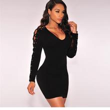 Buy Sexy Dress Dower Dress Plunge O-Neck Cross Straps Long Sleeve Bodycon Bandage Dress Mini One-Piece Club Elegant WT18280 for $11.75 in AliExpress store