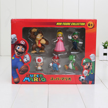 Super Mario Bros Peach Toad Mario Luigi Yoshi Donkey Kong PVC Action Figure Toys Dolls 6pcs/set New in Box(China)