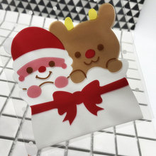 25 pcs/lot 9.5 X15 +3 cm Santa Claus adhesive bag cookies diy Gift Bag for Christmas New Year Party Candy Food Packaging bag