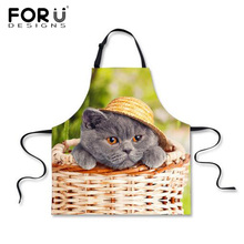FORUDESIGNS Funny Kitchen Apron for Woman Cute Cat Animal Print Adult Cooking Aprons Men Sleeveless Chef Apron for Hairdresser