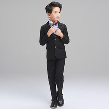 (Jacket+Pant+BowTie+Shirt+Vest) Boy Suits Flower girl Slim Fit Tuxedo Brand Fashion Bridegroon Dress Wedding black Suit Blazer(China)