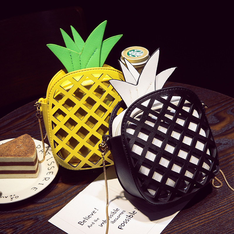2018 New Cute Cartoon Pineapple Women Handbags Small Chain Clutch Crossbody Girls Shoulder Messenger Bag Female Purse Fruit Bags