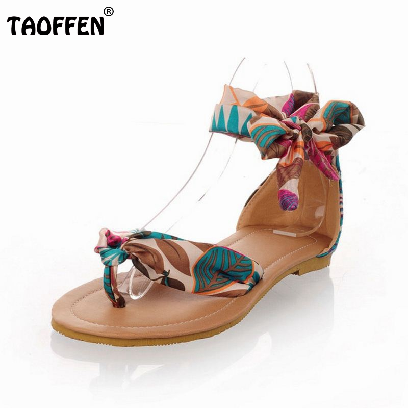 Big size 34-43 T strap colorful Beach flat heel sandals shoes women Summer Sandals Ribbon Sweet Ladies Leisure shoes P23534<br><br>Aliexpress