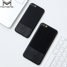 MCMEME Luxury Crocodil Skin PU Leather Case For iPhone 6 6S Plus Back Cover Carbon Fiber Coque For iPhone6 iPhone 6 S 6Plus Case