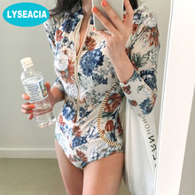LYSEACIA Floral Printed Rashguards Women Zipper Swimwear One Piece Swimsuit Howllow out Slim Waist Bathing Suit Pad Rash Guards(China)