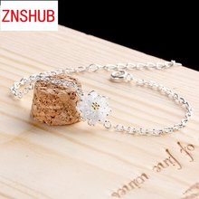 925 sterling silver bracelet female South Korean fresh lotus sweet temperament Flower Silver hand jewelry wholesale