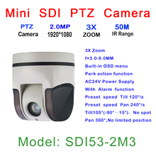 HD Mini PTZ Camera, In-ceiling/Wall/Pendant Mount, 3x A/F Zoom Lens, 3.0 - 9.0 mm Auto Focus Zoom, 2.0MP HD-SDI, Wide angle View