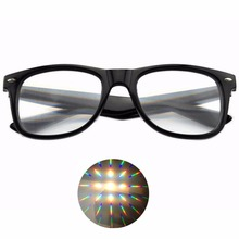 1pcs Hard Plastic 3D Rave Diffraction Glasses,Fireworks Rainbow 3D Eyewear with 13500 Strong Lens(China)