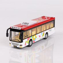 Bus Model, Alloy Single Public Traffic, Public bus Toys for Kits, Light and sound 19cm in length