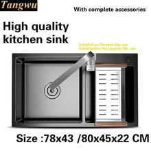 Tangwu High quality food grade 304 stainless steel kitchen sink 4 MM thick wash bowl big double groove 78x43/80x45x22 CM(China)