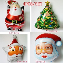 4PCS/SET Santa Claus Foil Balloons Christmas tree ballon Classic Toys For xmas Party Decoration inflatable air globos
