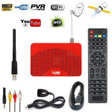 Hot Mini Size Full HD 1080P DVB-S2 S Satellite Receiver Cccam Powe vu Decoder Tv Box PVR Recorder Youporn + USB Wifi Dongle