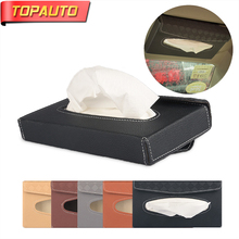 Buy TopAuto Car Paper Rack Tissue Box Cover Car PU Sun Visor Leather Portable High Automotive Paper Holder Car Accessories for $10.78 in AliExpress store