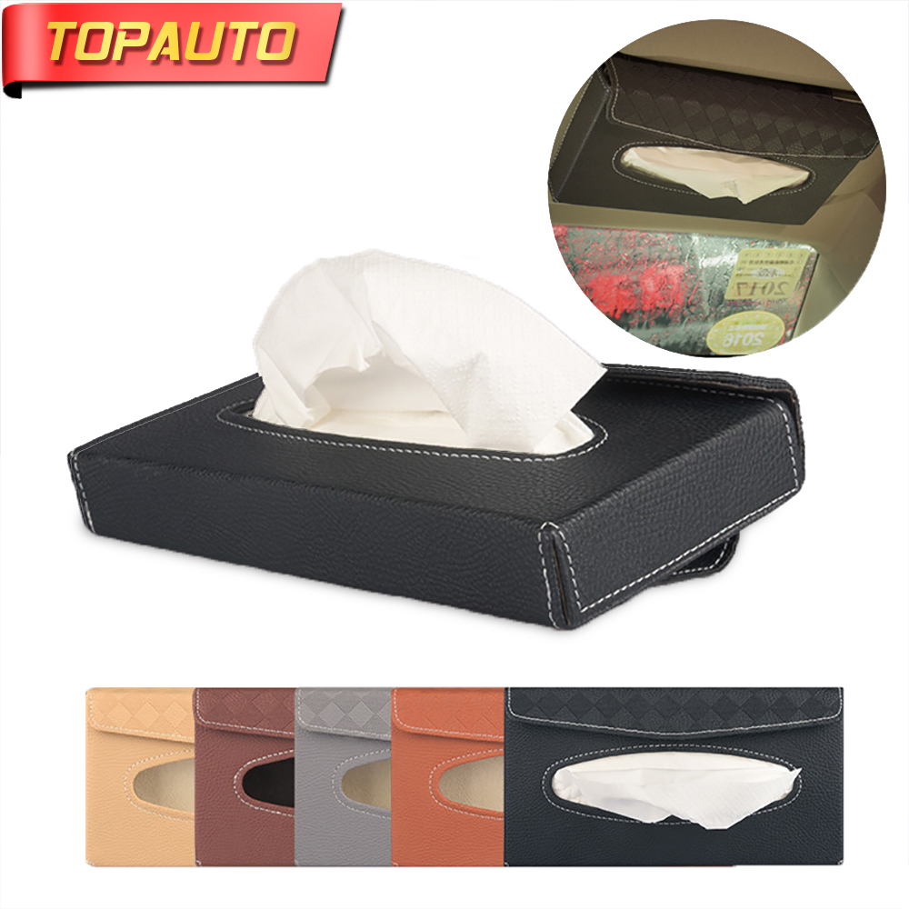 TopAuto Car Paper Rack Tissue Box Cover Car Sun Visor Lether Portable High Automotive Paper Holder Car Accessories