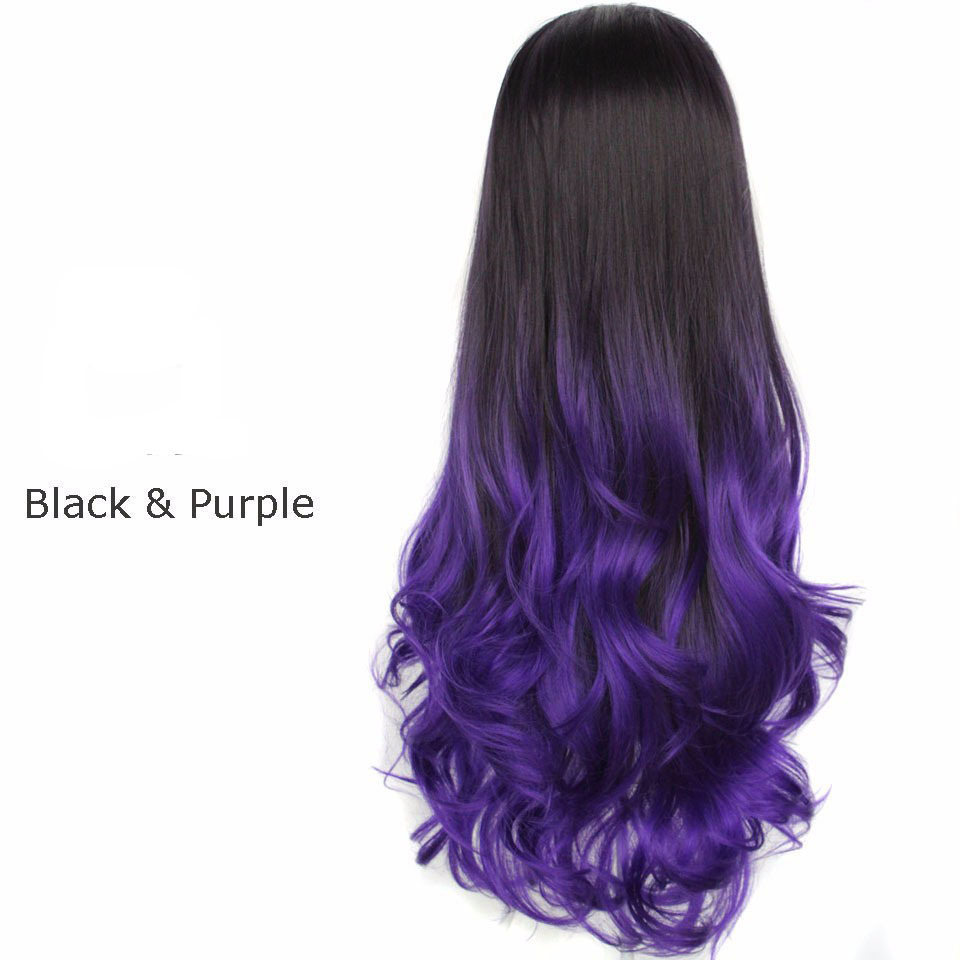 26 200g Synthetic Hair Half Wigs 3/4 Wig Ombre Cheap Fake Hair Wig Celebrity Two Tone Long Curly False Hair Heat Resistant afro<br><br>Aliexpress