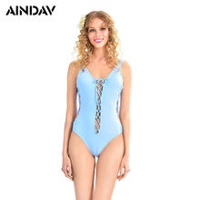 AINDAV New Sexy Lacing One Piece Swimsuit Bandage Monokini Padded Backless Swimwear Women Swimming Suit Beach Bathing Suit