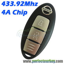 433.9Mhz 4A Chip 2button car key control keyless entry smart key for Nissan Qashqai X-TRAIL