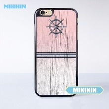 MINIKIN Navy Blue Anchor x Striped Pink Wood Design Cell Phone Protective Case For iPhone 7 7 Plus 6 6S Plus SE 5 5S 5C 4 4S(China)