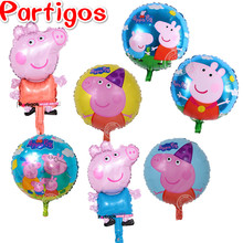 10pcs Cartoon George Pink Pig inflatable helium balloons baby boy girl kids birthday party decoration supplies classic toys 45cm(China)