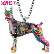 Bonsny Maxi Statement Metal Alloy Doberman Dog Choker Necklace Chain Collar Pendant Fashion New Enamel Jewelry For Women(China)