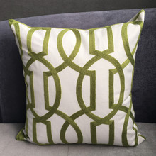 Modern Geometric Cord Embroidery Gray & Green Cotton Cushion Cover 45 x 45 cm Gift Sofa Pillow Case