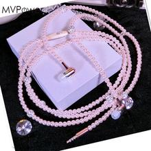 MVpower Cute Pearl Necklace Chain 3.5mm Wired Earphones Cheapest Headset Headphones For Girls for iphone 6 7 for Samsung