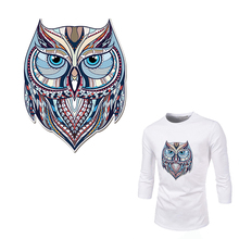 Cool 3D Owl Animal Cloth Patches Stickers for Tops T-shirt Household Iron-on Transfers DIY Decoration Appliqued for Tote Curtain(China)