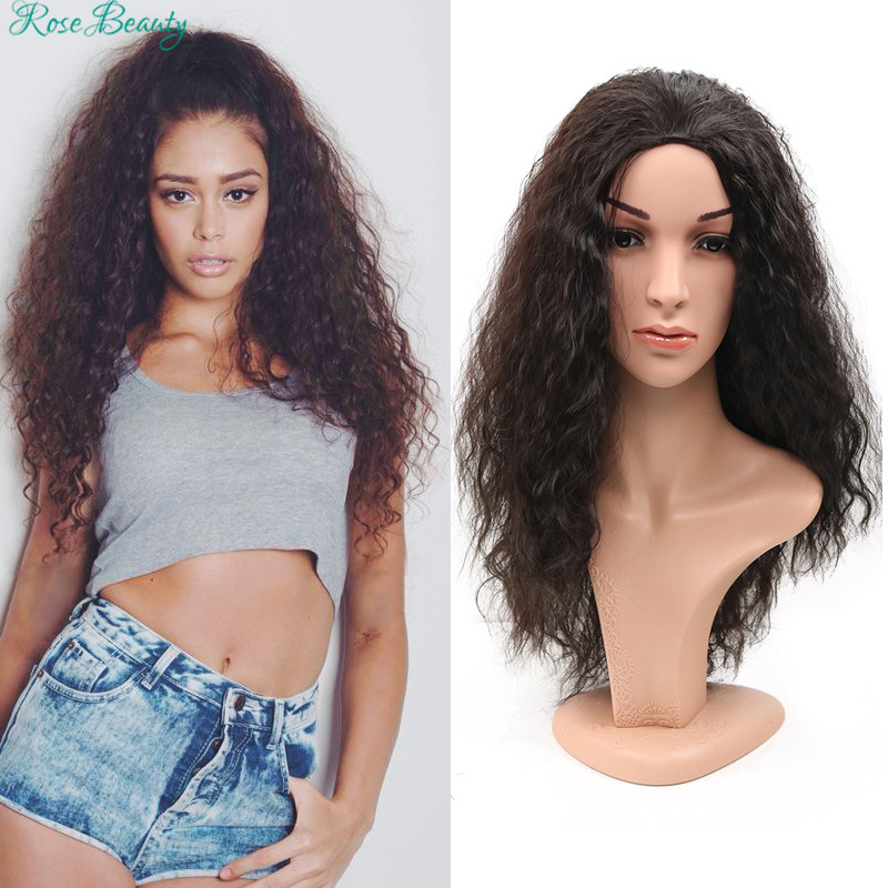 Rose Beauty Fashion Hair Styling long Curly Wig for Sexy Women half wig Black/ Brown Synthetic Peruca afro wigs free shipping<br><br>Aliexpress