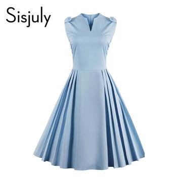 Sisjuly mujeres vintage dress summer elegant 1950 s retro sin mangas vestidos de fiesta estilo azul a-line 50 s dress v-cuello de la vendimia 2017
