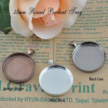 10pcs Fit 25mm Round Glass Cabochon Setting Base Copper Blank Pendant Tray Stickers Bezel Settings DIY Jewelry Findings(China)