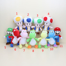 25cm Super Mario Bros Plush Toy Red/Green/Yellow/Blue Yoshi Plush Mushroom Mario Luigi Plush Soft Stuffed Pillow Toys Dolls(China)