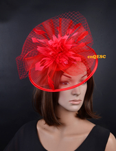 Red big veiling fascinator crin fascinator sinamay base formal hat for wedding party kentucky derby Races Ascot Races.