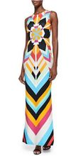 Women's New In Summer Luxury Brands Long Jersey Silk Dress Multicolor Neon Striped Print Bodycon Spandex Stretch Maxi Tank Dress(China)