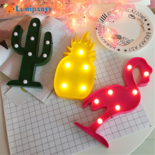 LumiParty Cactus Flamingo Pineapple LED Night Light Sign 3D Star Marquee Figure Battery Operated Luminaria Desk Lamp For Kids