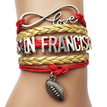 Drop Shipping Infinity Love San Francisco US State Name NFL Football Team Bracelet Bangle-  Friendship Leather Wrap Jewelry Gift