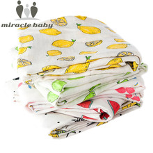 Baby Bamboo Blanket Swaddle Baby Fruit Print Infant For Babies Muslin Cotton Bedding Newborns Bath Towel Baby Cover Manta 120