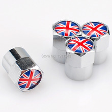 4Pcs Car Badge Emblem Wheel Tire Valve Cap Car Styling Tyre Dust Cover Replacement Cap For British Flag Britain National Flag