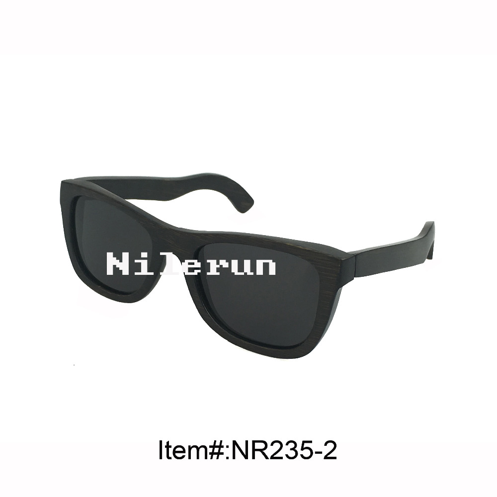classic black polarized lenses dyed black bamboo frame sunglasses for driving, traveling or fishing <br><br>Aliexpress