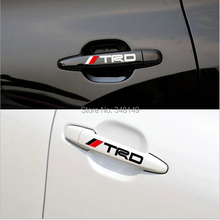 4 x Newest TRD Car Door Handle Stickers and decals Reflective Car Decoration for Toyota Corolla Avensis Rav4 Camry