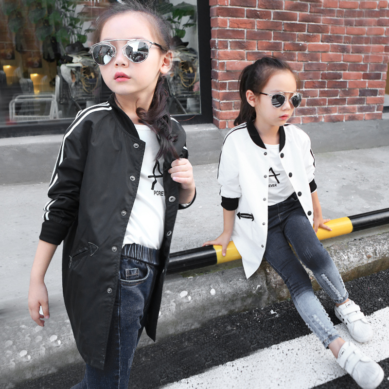 In the autumn of 2017 new girls Windbreaker Jacket Large virgin baby long cardigan in casual baseball uniform free shipping<br><br>Aliexpress