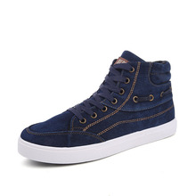 Spring and Autumn Shoes High Trend Korea Youth Cowboy Blue Canvas Shoes Denim Blue Female Diamond Bling Casual Shoes