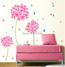 [Fundecor] pink dandelion flowers decoration for room girl bedroom wall stickers transparent pvc 6581