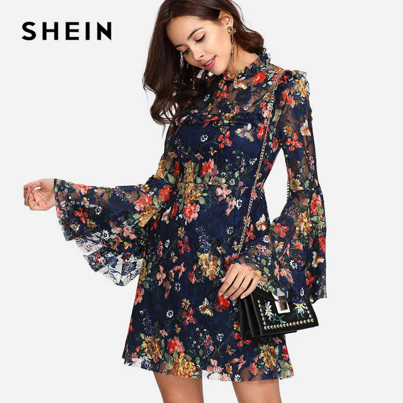 32cd36970a87 SHEIN Flower Print Swing A Line Summer Dress Long Sleeve Spring Multicolor  Floral Calico Print Keyhole