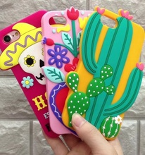 3D Soft Silicone Phone Case for iPhone 8 7 7Plus Skull Cactus Flowers Fashion Cover for iPhone X 6 6S Plus Protective Shell(China)