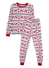 Adults Size Red Deer Pattern Christmas Pajamas Set Sleepwear Cotton Long Sleeves Nightwear Outfit Family Pajamas(China)